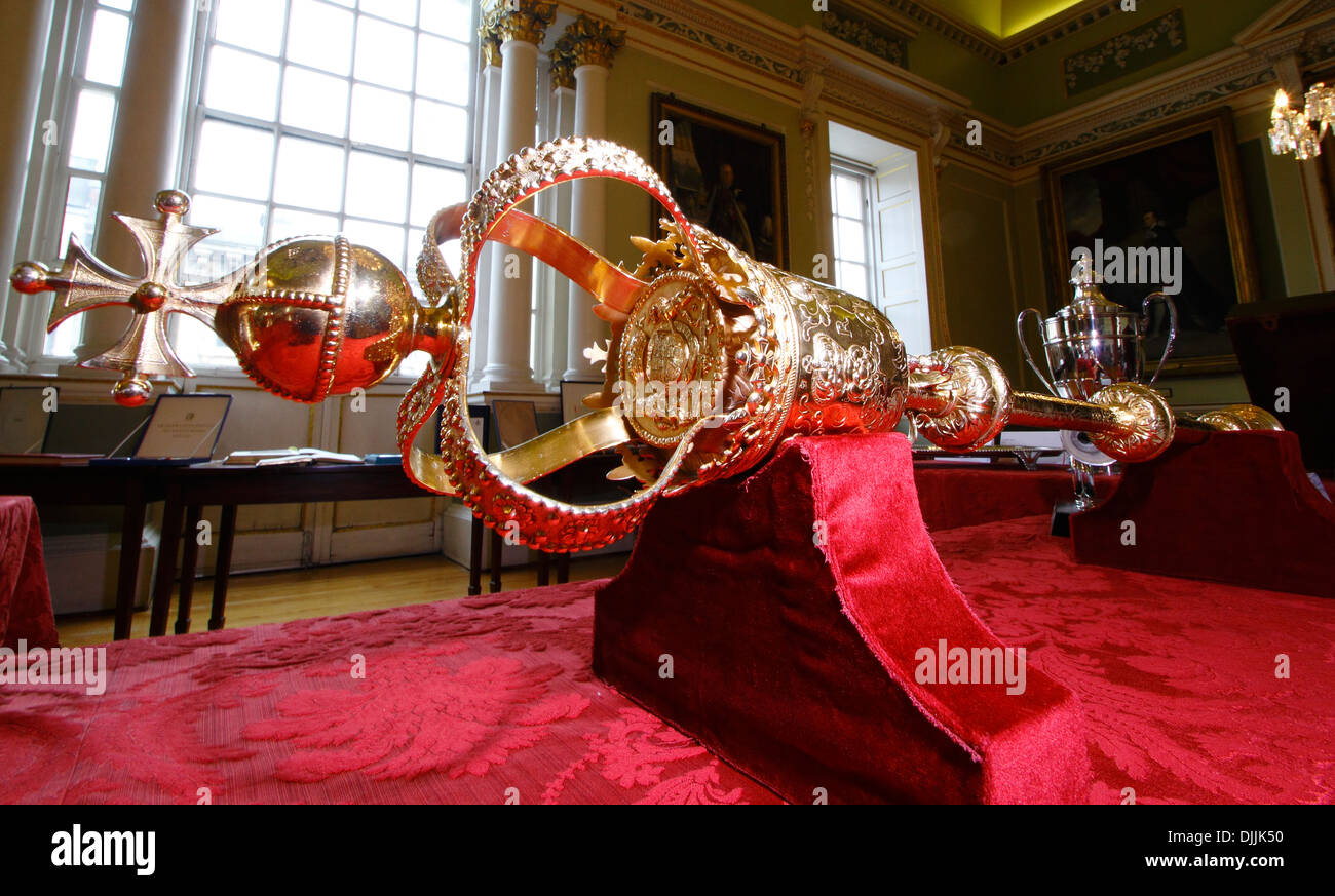 The mayoral mace inside Doncaster Mansion House, Doncaster, South Yorkshire, England, UK - Stock Image