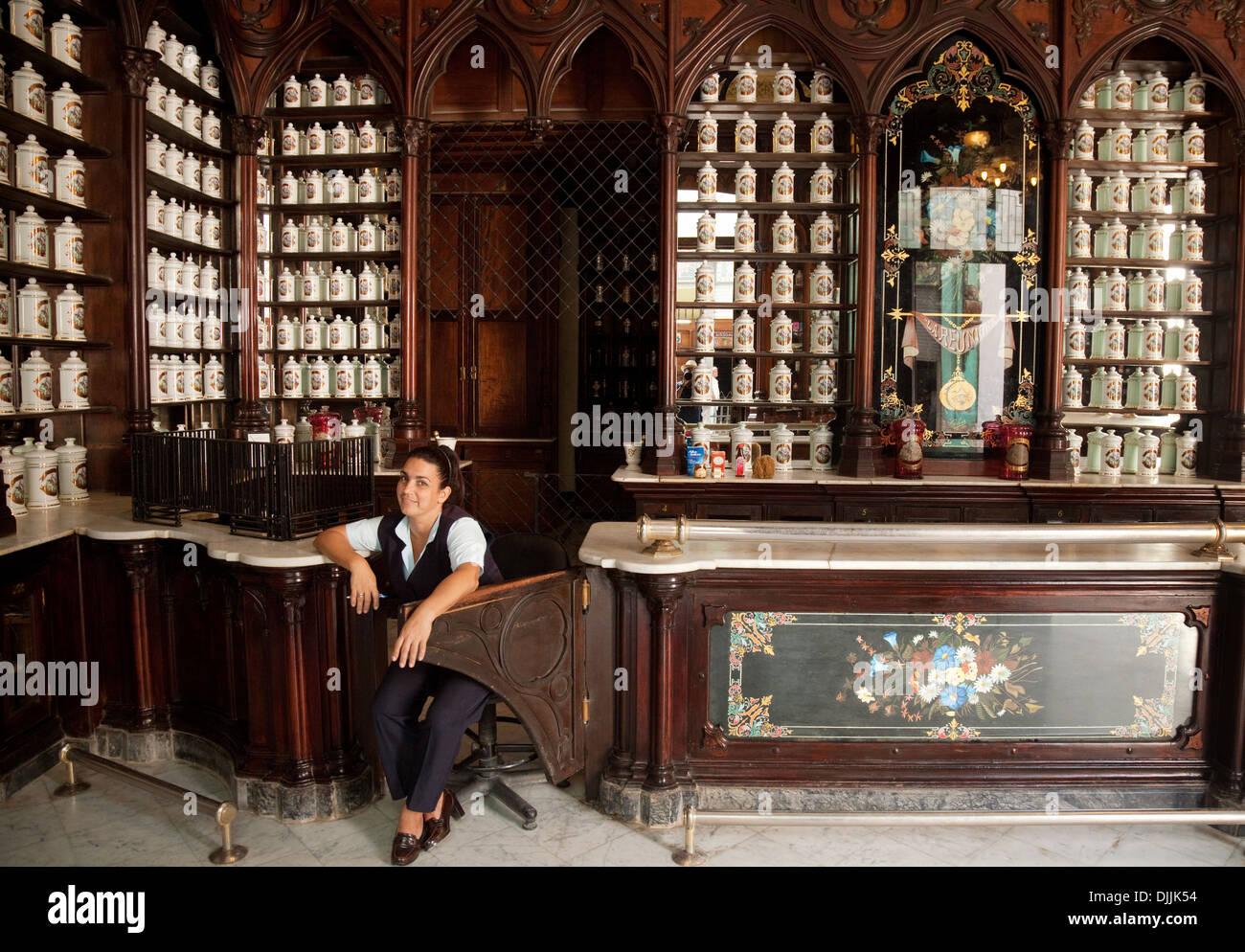 La Reunion Pharmacy chemist, Brasil St, Havana Cuba Caribbean - Stock Image