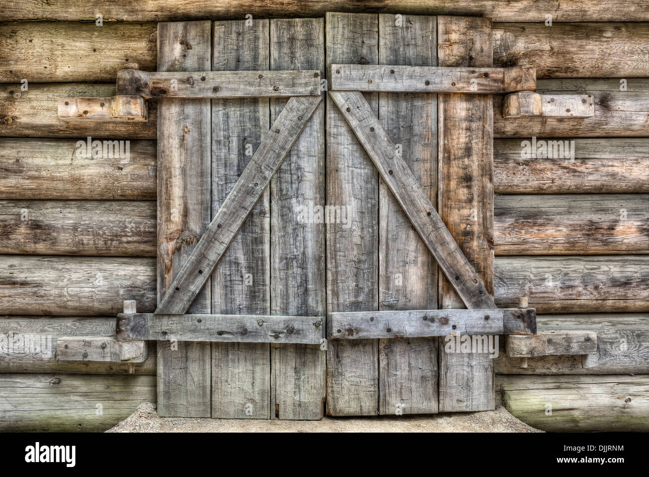 Log cabin doors, Algonquin Logging Museum, Algonquin Provincial Park, Ontario, Canada - Stock Image