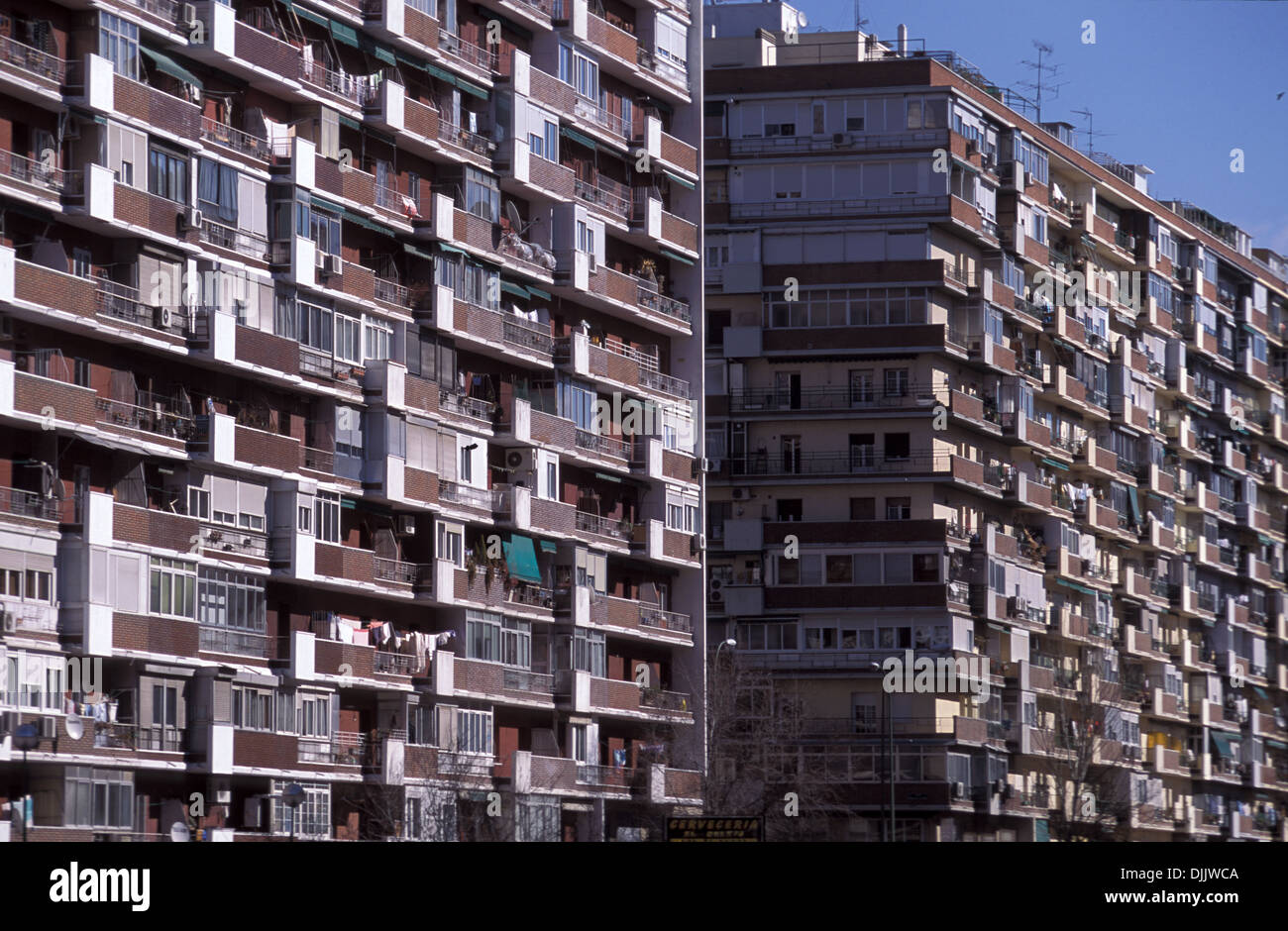 Block Of Buildings With High Density Housing Apartments In Madrid