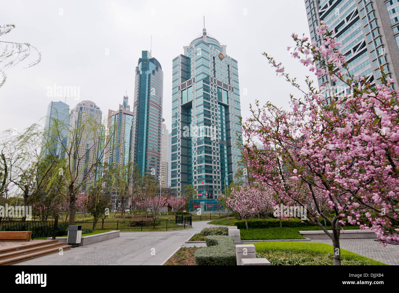 From left: One Lujiazui, Hang Seng Bank Tower, Huaneng Union Mansion, World Finance Tower and China Merchants, Pudong, Shanghai - Stock Image