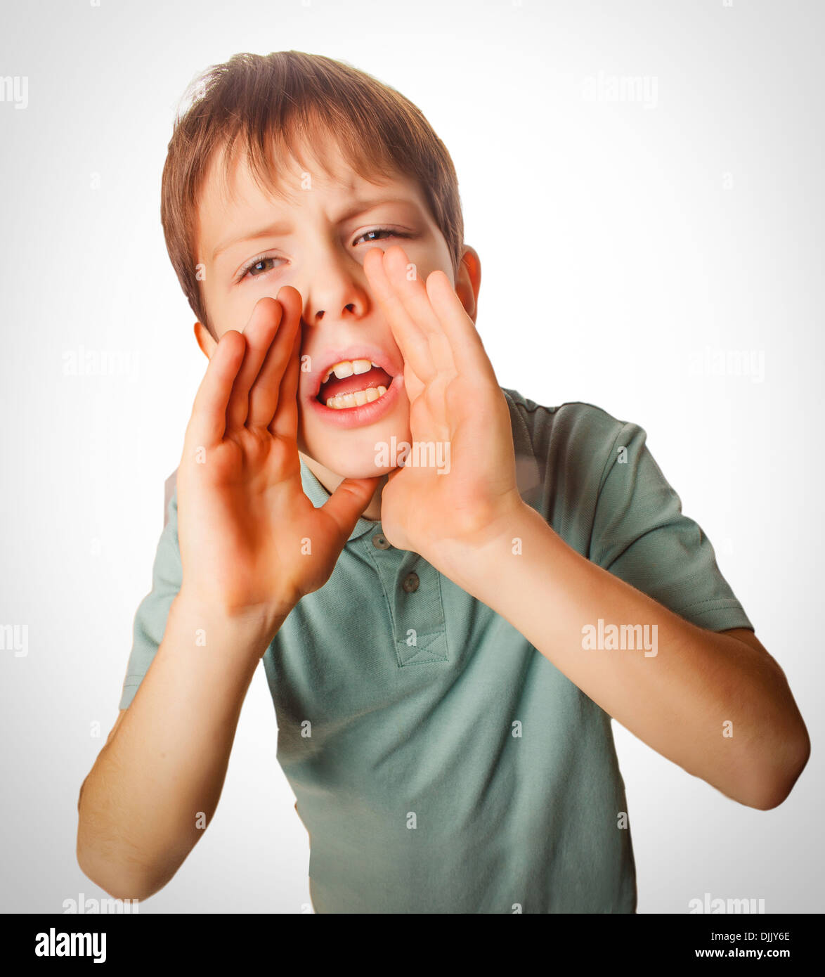 boy teenager calling cries opened his mouth emotion - Stock Image
