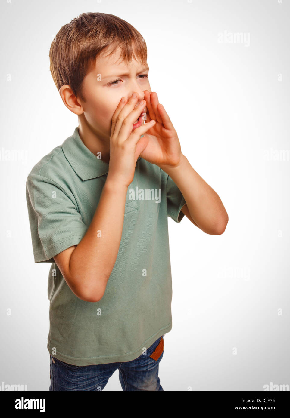 boy teenager cries calling opened his mouth emotion - Stock Image