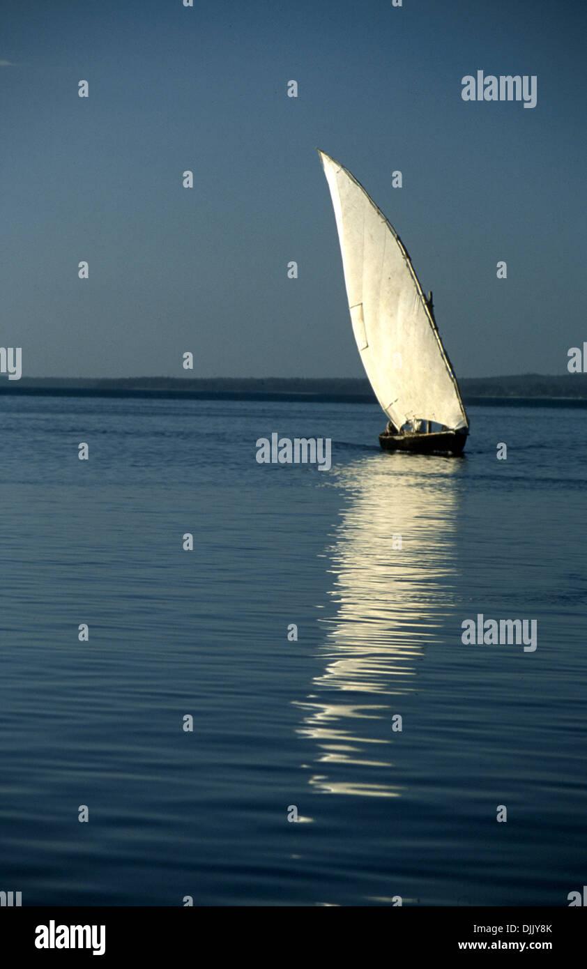 Zanzibar dhows reflexion in the India ocean - Stock Image