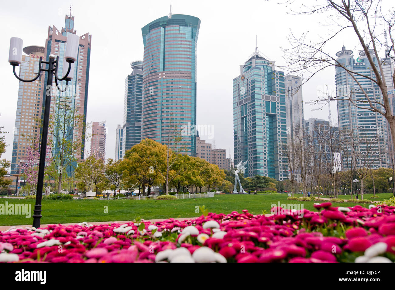 View from Luijazui Central Green Space (Luijazui Park) in Pudong, Shanghai, China (SEE DESCRIPTION FOR BUILDINGS DETAILS) - Stock Image
