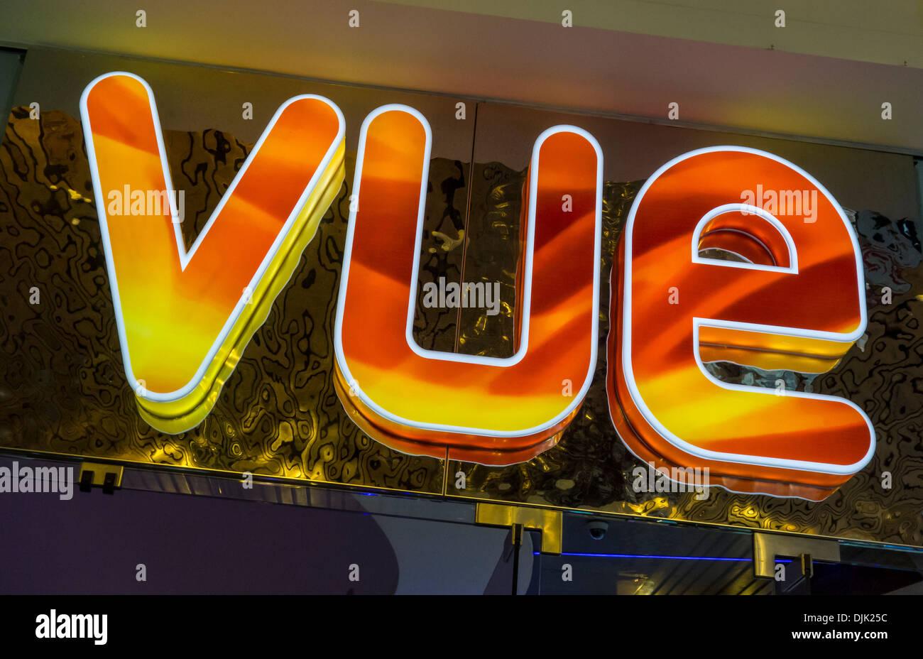 Vue Cinema Illuminated Sign Logo - Stock Image