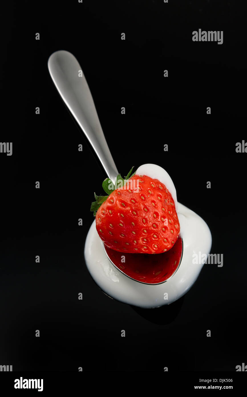 Bright Red Strawberry on a spoon resting in cream against a Black background - Stock Image