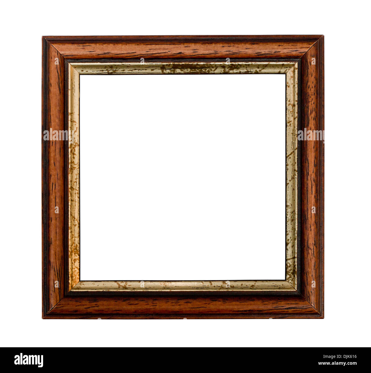 Small square picture frame with Gilded inset isolated on a white background - Stock Image