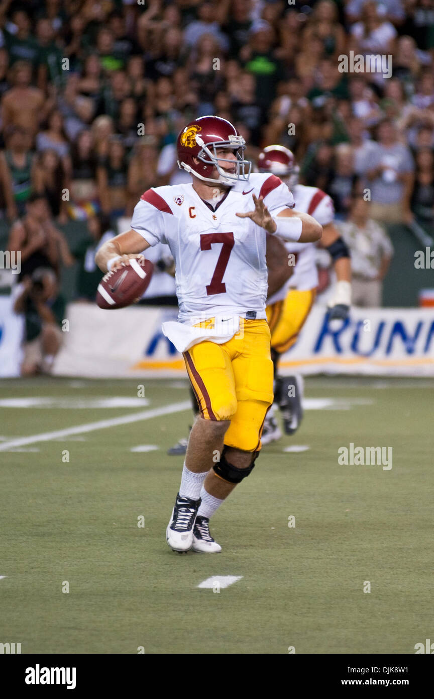 Sep. 02, 2010 - Honolulu, Hawaii, United States of America - USC Trojans quarterback Matt Barkley #7 during second half action against the University of Hawaii.  The game was played at Aloha Stadium in Honolulu, Hawaii (Credit Image: © Greg Honda/Southcreek Global/ZUMApress.com) - Stock Image