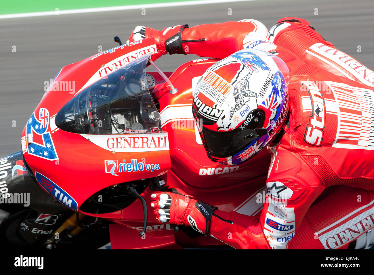 Sep. 03, 2010 - Misano Adriatico, Italy - Ducati rider Casey Stoner (AUS #27) during the first MotoGp practice session for the San Marino GP in Misano Adriatico, Italy. Stoner finished the practice at the 8th place. (Credit Image: © Andrea Ranalli/Southcreek Global/ZUMApress.com) - Stock Image