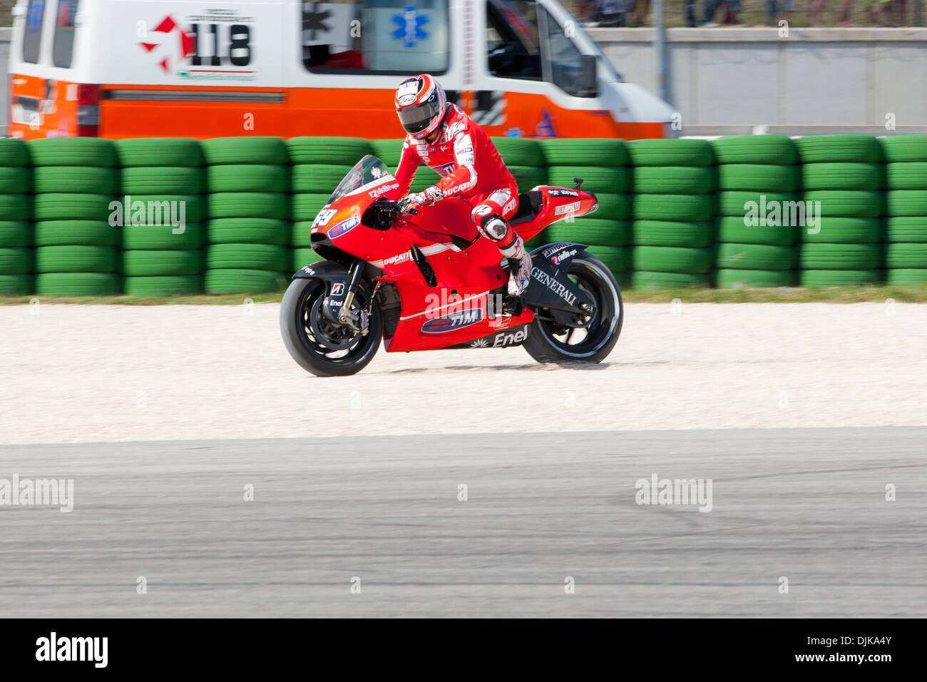 Sep. 03, 2010 - Misano Adriatico, Italy - Ducati rider Nicky Hayden (USA #69) during the first MotoGp practice session for the San Marino GP in Misano Adriatico, Italy. Hayden finished the practice at the 7th place. (Credit Image: © Andrea Ranalli/Southcreek Global/ZUMApress.com) - Stock Image