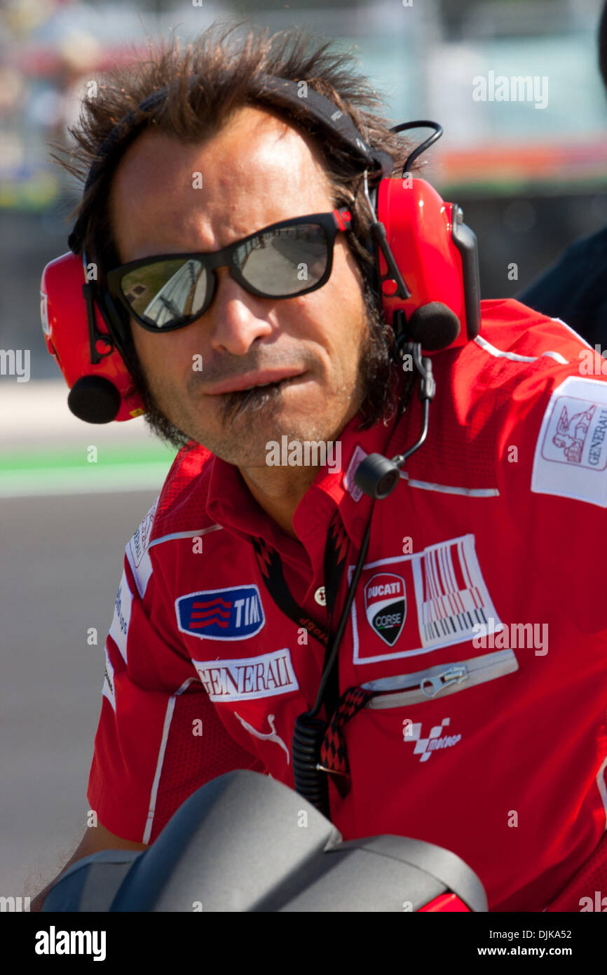 Sep. 03, 2010 - Misano Adriatico, Italy - Ducati Team Manager Vittoriano Guareschi watching his riders during the first MotoGp practice session for the San Marino GP in Misano Adriatico, Italy. (Credit Image: © Andrea Ranalli/Southcreek Global/ZUMApress.com) - Stock Image