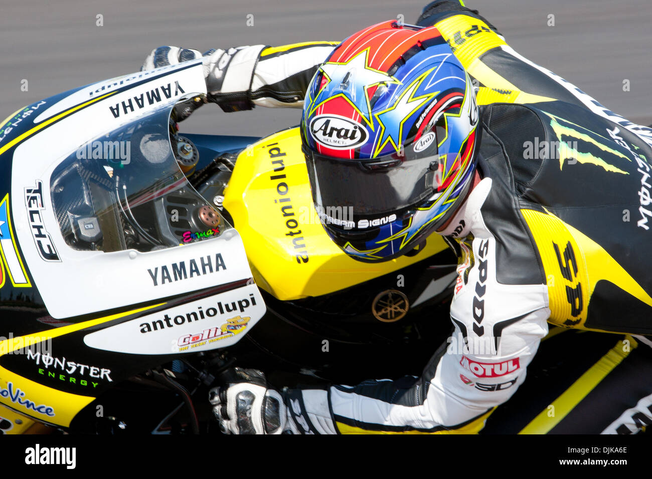 Sep. 03, 2010 - Misano Adriatico, Italy - Yamaha Tech 3 rider Colin Edwards (USA #5) during the first MotoGp practice session for the San Marino GP in Misano Adriatico, Italy. Edwards finished the practice at the 5th place. (Credit Image: © Andrea Ranalli/Southcreek Global/ZUMApress.com) - Stock Image
