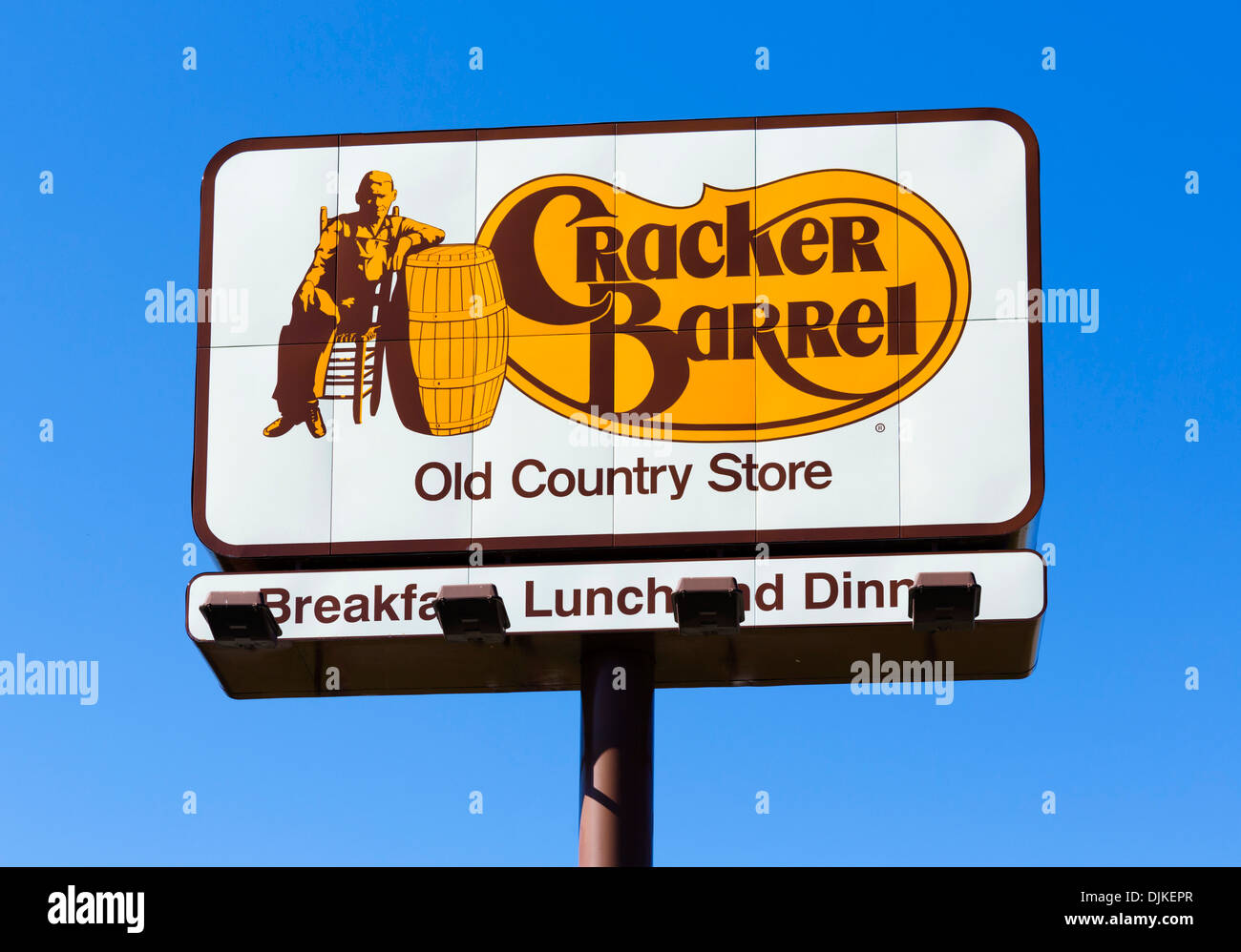 Cracker Barrel Old Country Store restaurant sign, Central Florida, USA - Stock Image