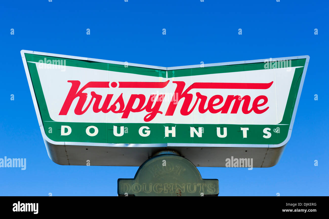 Sign outside a Krispy Kreme Doughnuts Store, Central Florida, USA - Stock Image