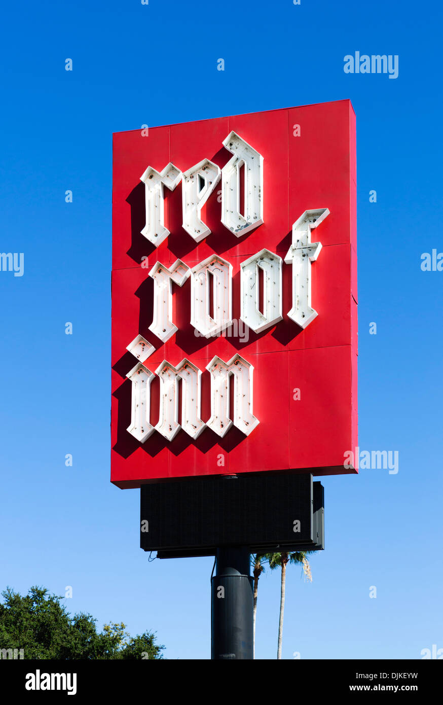 Red Roof Inn hotel sign, Central Florida, USA - Stock Image