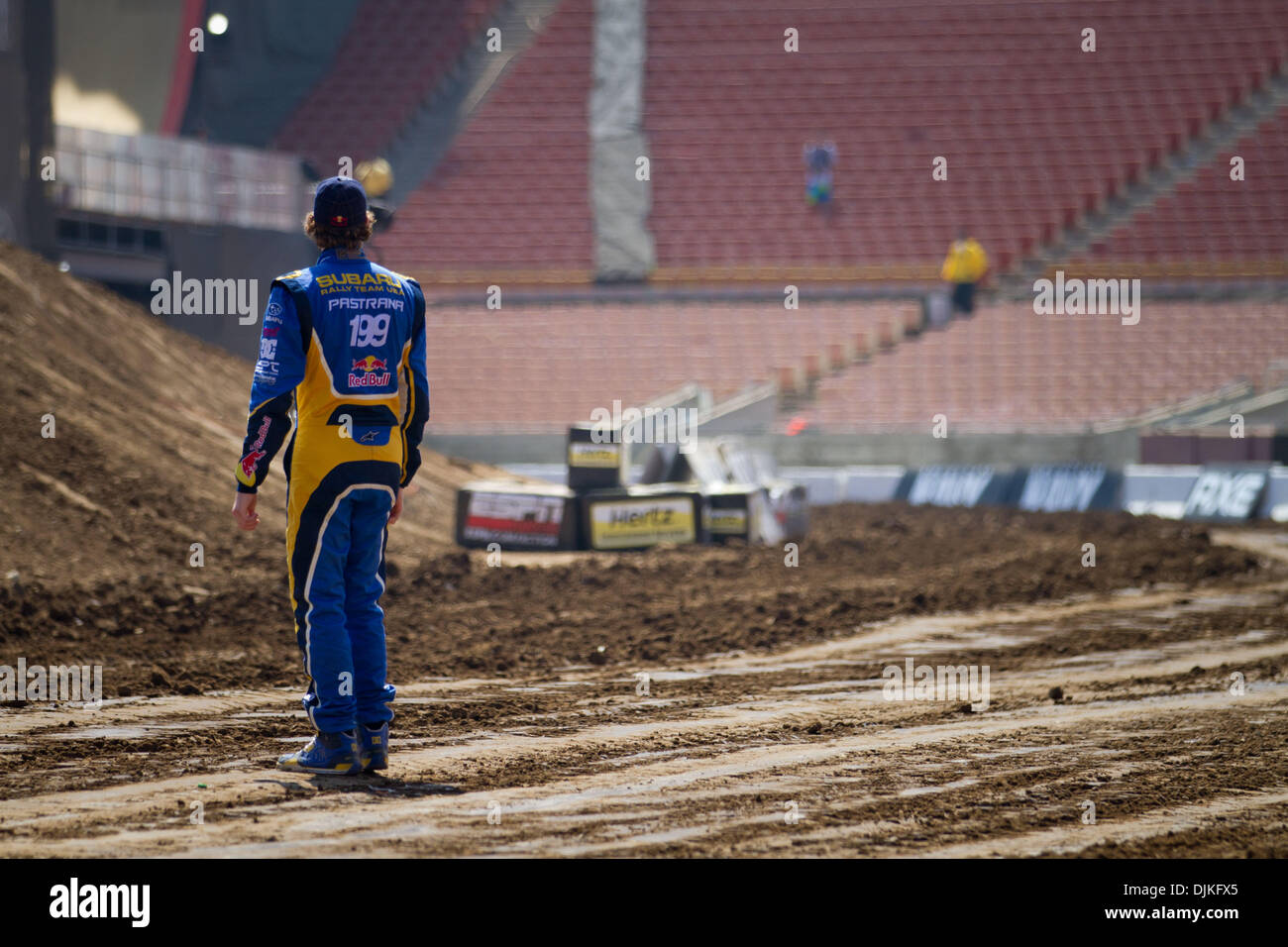 Sep. 05, 2010 - Los Angeles, CA, U.S - 31 July 2010:  Travis Pastrana (199) shows his dedication and was the only driver to walk the track when it was re-graded after qualifying.  However, it wasn't enough and Travis failed to make it past the quarter-finals in Rally Car at the X Games in Los Angeles, CA. (Credit Image: © Josh Chapel/Southcreek Global/ZUMApress.com) - Stock Image