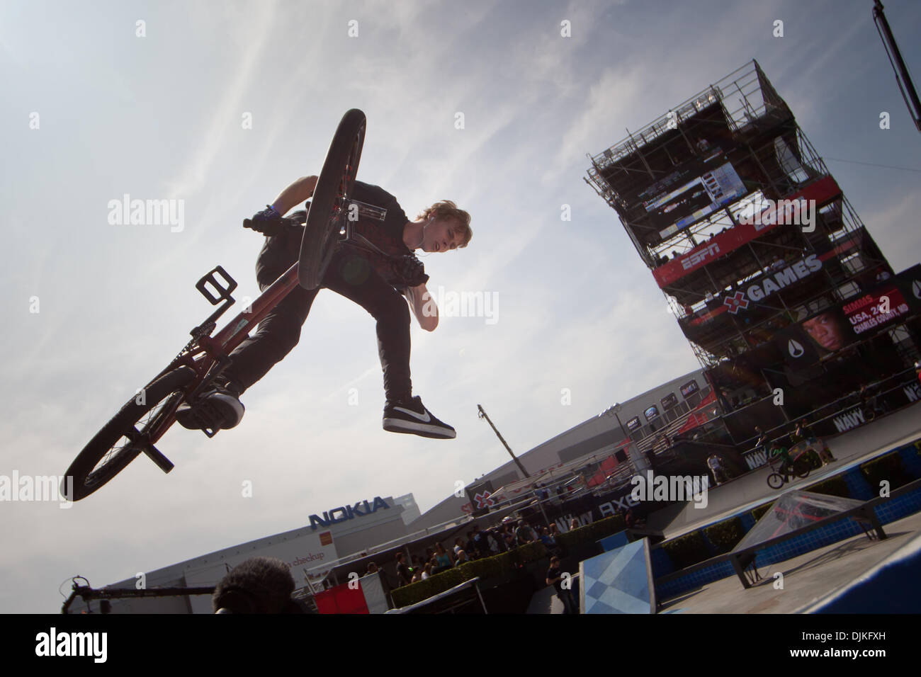 Sep. 05, 2010 - Los Angeles, CA, U.S - 1 August 2010:  Danny Hickerson launched some big airs of the teacup petals in BMX Street but failed to make the final five at the X Games in Los Angeles, CA. (Credit Image: © Josh Chapel/Southcreek Global/ZUMApress.com) - Stock Image