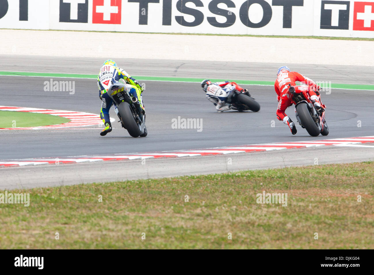 Sep. 05, 2010 - Misano Adriatico, Italy - Valentino Rossi (left, ITA #46) and Casey Stoner (right, AUS #27) battling for the 3rd place at the San Marino GP (Credit Image: © Andrea Ranalli/Southcreek Global/ZUMApress.com) - Stock Image