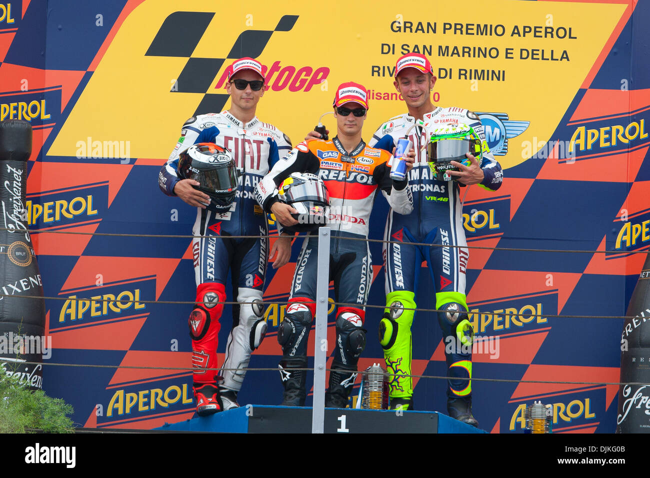 Sep. 05, 2010 - Misano Adriatico, Italy - Race podium, from left Jorge Lorenzo (2nd place), Dani Pedrosa (Winner) and Valentino Rossi (3rd place) (Credit Image: © Andrea Ranalli/Southcreek Global/ZUMApress.com) - Stock Image