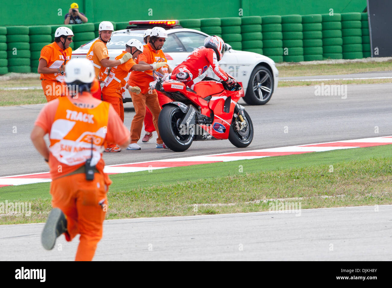 Sep. 07, 2010 - Misano Adriatico, Italy - Ducati  rider Nicky Hayden (USA #69) after a crash during the San Marino GP in Misano Adriatico, Italy. (Credit Image: © Andrea Ranalli/Southcreek Global/ZUMApress.com) - Stock Image