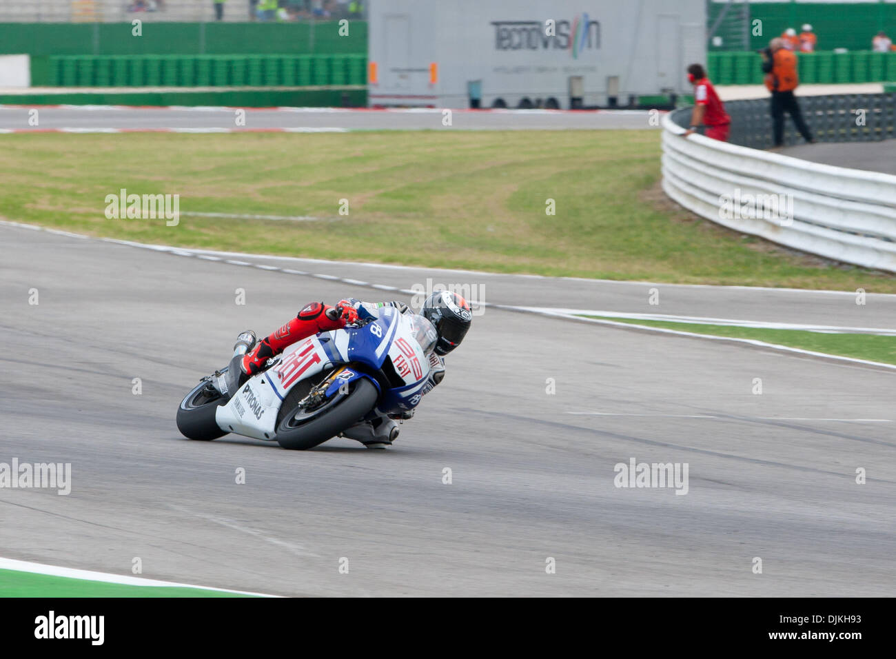 Sep. 07, 2010 - Misano Adriatico, Italy - FIAT Yamaha rider Jorge Lorenzo (SPA #99) controlling his second place in the San Marino GP in Misano Adriatico, Italy. Lorenzo is the steady leader of the 2010 championship (Credit Image: © Andrea Ranalli/Southcreek Global/ZUMApress.com) - Stock Image