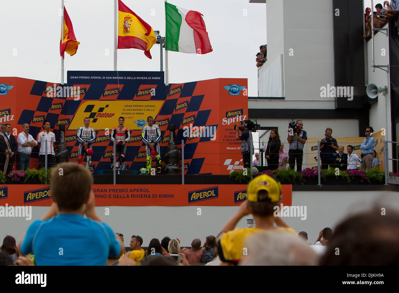 Sep. 07, 2010 - Misano Adriatico, Italy - Lorenzo (left), Pedrosa (center) and Rossi (right) on the podium of the San Marino GP in Misano Adriatico, Italy. (Credit Image: © Andrea Ranalli/Southcreek Global/ZUMApress.com) - Stock Image