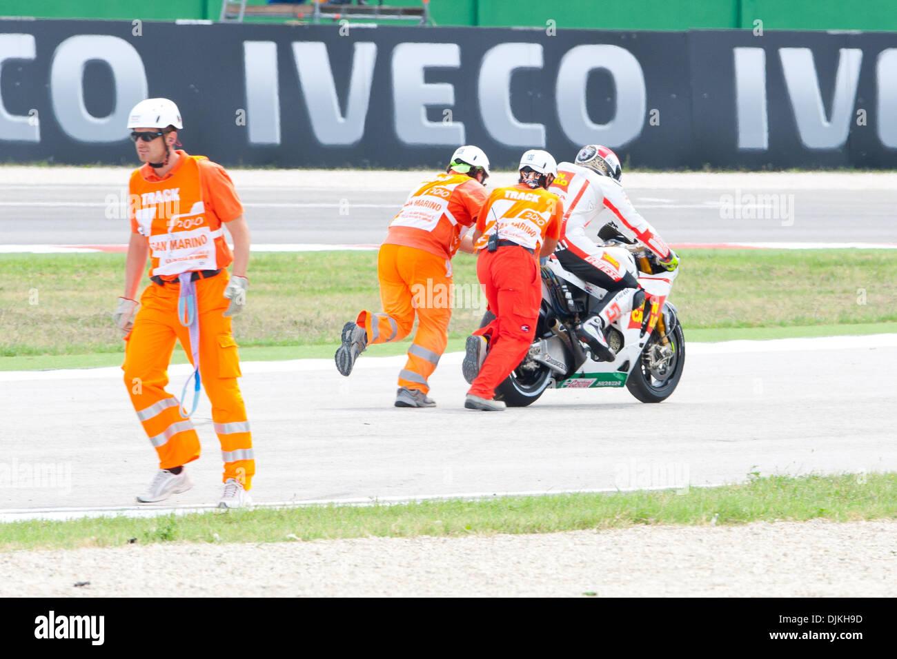 Sep. 07, 2010 - Misano Adriatico, Italy - Honda Gresini  rider Marco Simoncelli (ITA #58) after a crash during the San Marino GP in Misano Adriatico, Italy. (Credit Image: © Andrea Ranalli/Southcreek Global/ZUMApress.com) - Stock Image