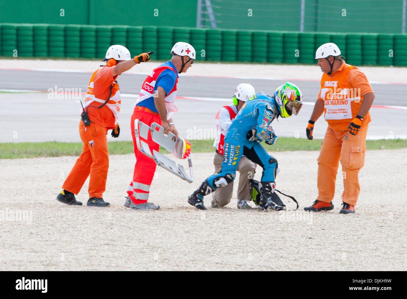 Sep. 07, 2010 - Misano Adriatico, Italy - Rizla Suzuki  rider Loris Capirossi (ITA #65) after a crash during the San Marino GP in Misano Adriatico, Italy. (Credit Image: © Andrea Ranalli/Southcreek Global/ZUMApress.com) - Stock Image