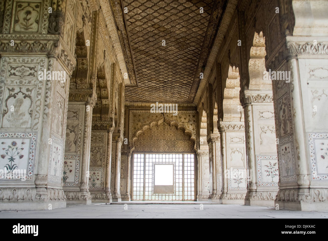 Marble inlay on pillars of Diwan-E-Khas at Red Fort, Delhi, Inida, Asia - Stock Image
