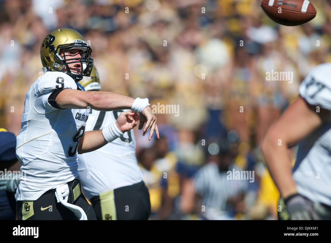 Sept. 11, 2010 - Berkeley, California, United States of America - Colorado QB Tyler Hansen (9) airs the ball out during the NCAA game between the California Golden Bears and the University of Colorado Buffaloes at Memorial Stadium.  Cal routed Colorado 52-7. (Credit Image: © Matt Cohen/Southcreek Global/ZUMApress.com) - Stock Image