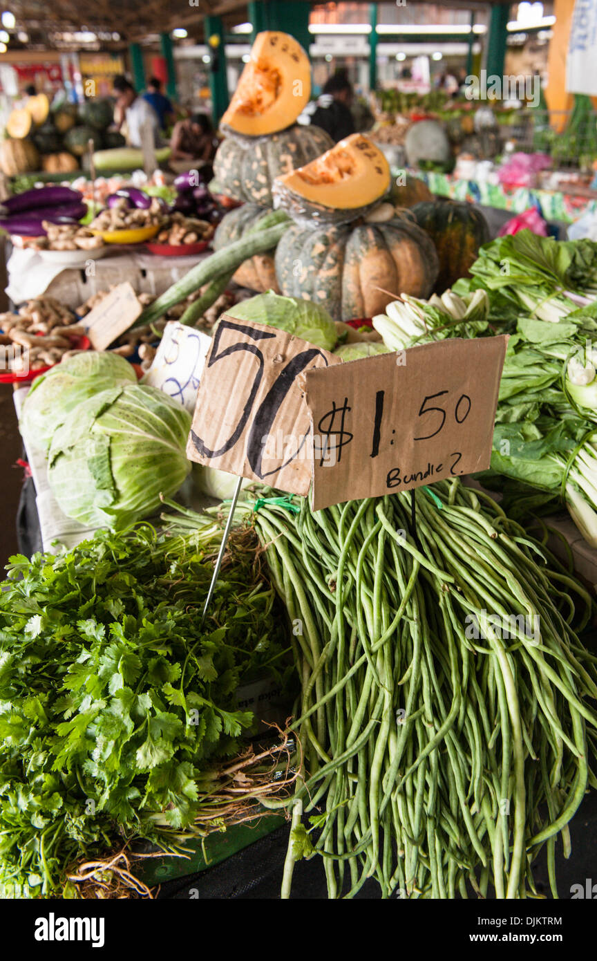 Piles of fruit and vegetables in Suva Municipal Market, a large fruit and vegetable market in the capital. Suva, Fiji. - Stock Image