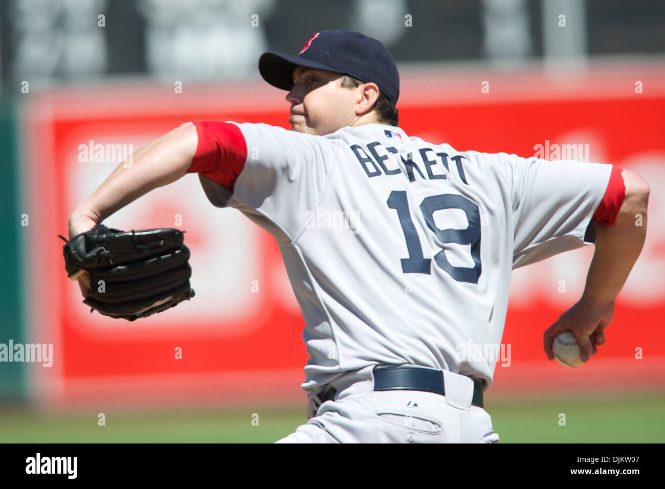 Sept. 12, 2010 - Oakland, California, United States of America - Red Sox pitcher Josh Beckett (19) pitches during Stock Photo