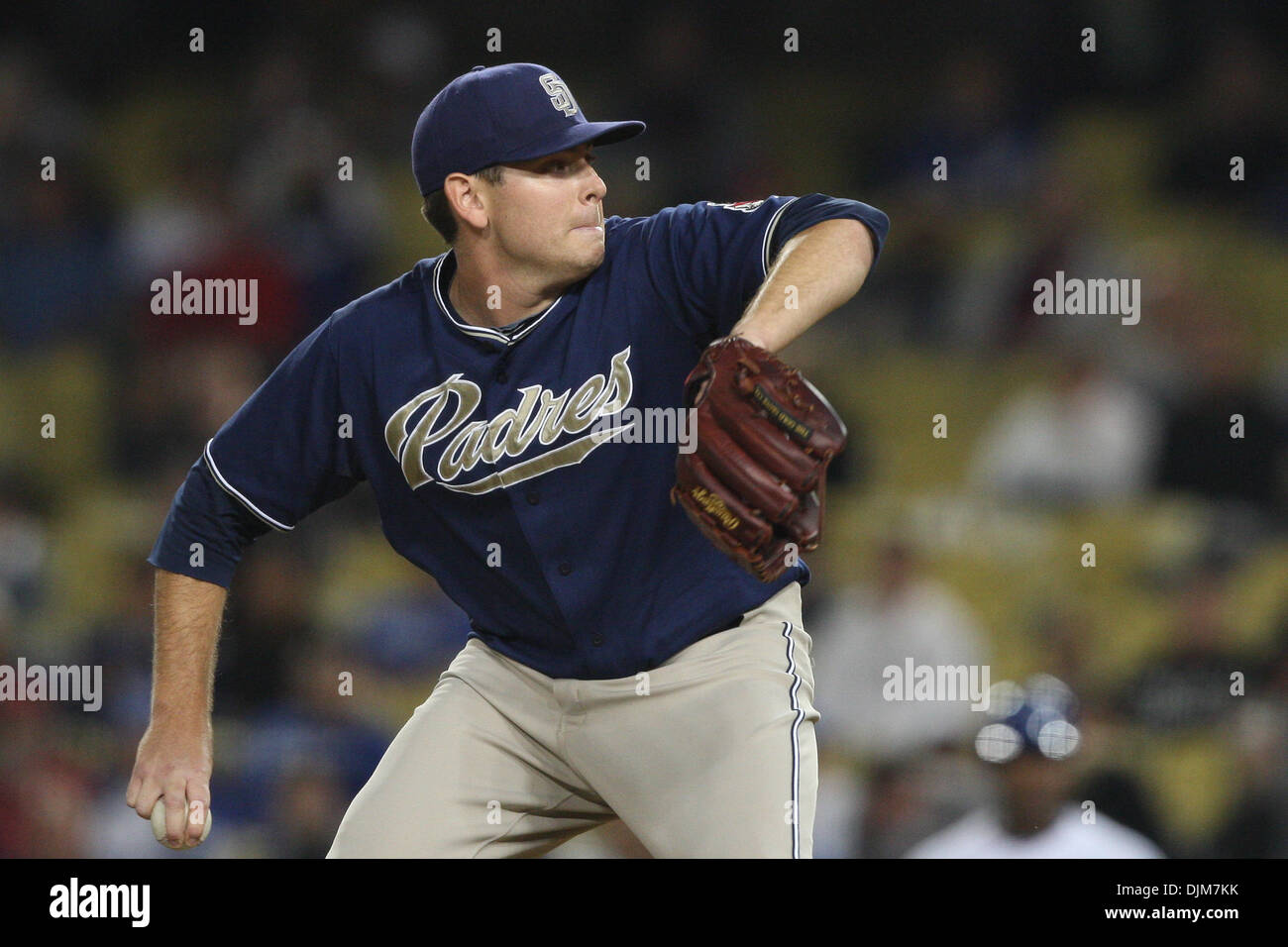 Sept. 22, 2010 - Los Angeles, California, United States of America - San Diego Padres pitcher (#46) TIM STAUFFER pitches during the Padres vs. Dodgers game at Dodgers Stadium. The Padres went on to defeat the Dodgers with a final score of 3-1. (Credit Image: © Brandon Parry/Southcreek Global/ZUMApress.com) - Stock Image