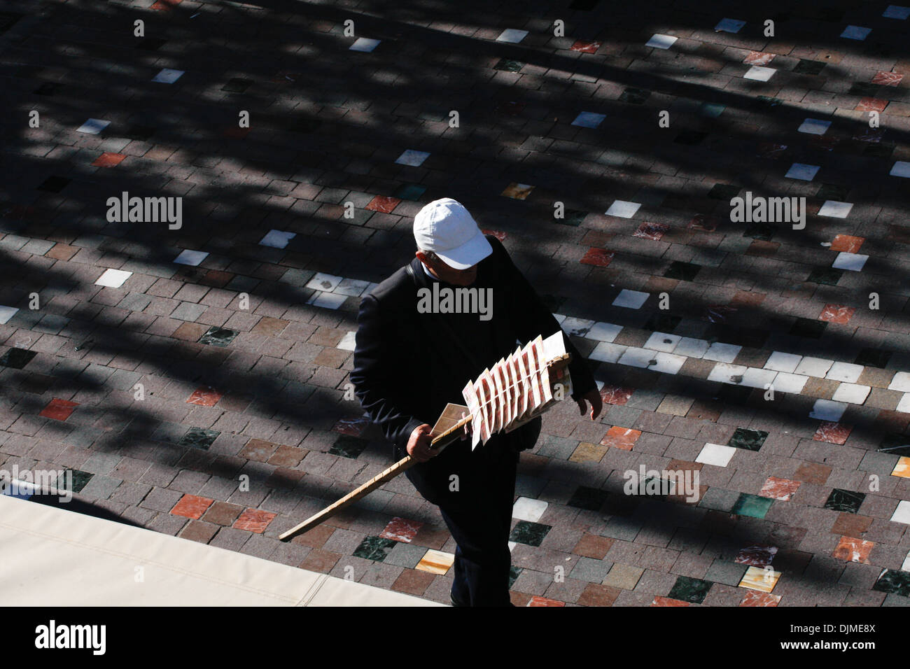 Sweep stake street seller The historic center of Athens from Hotel rooftops. - Stock Image