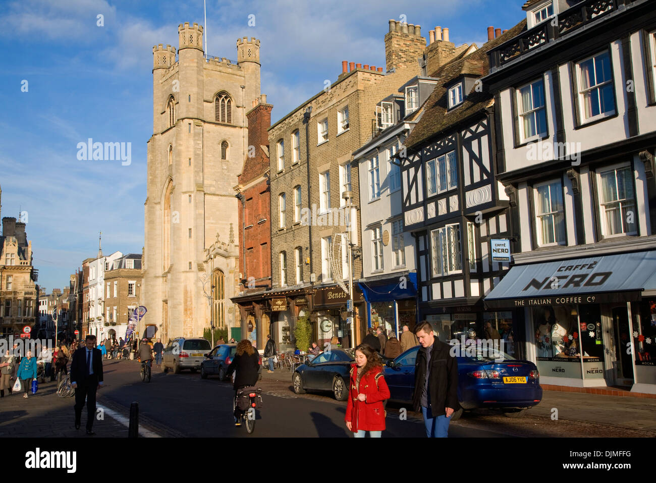 Great St Mary's church and historic buildings King's Parade, Cambridge, England - Stock Image