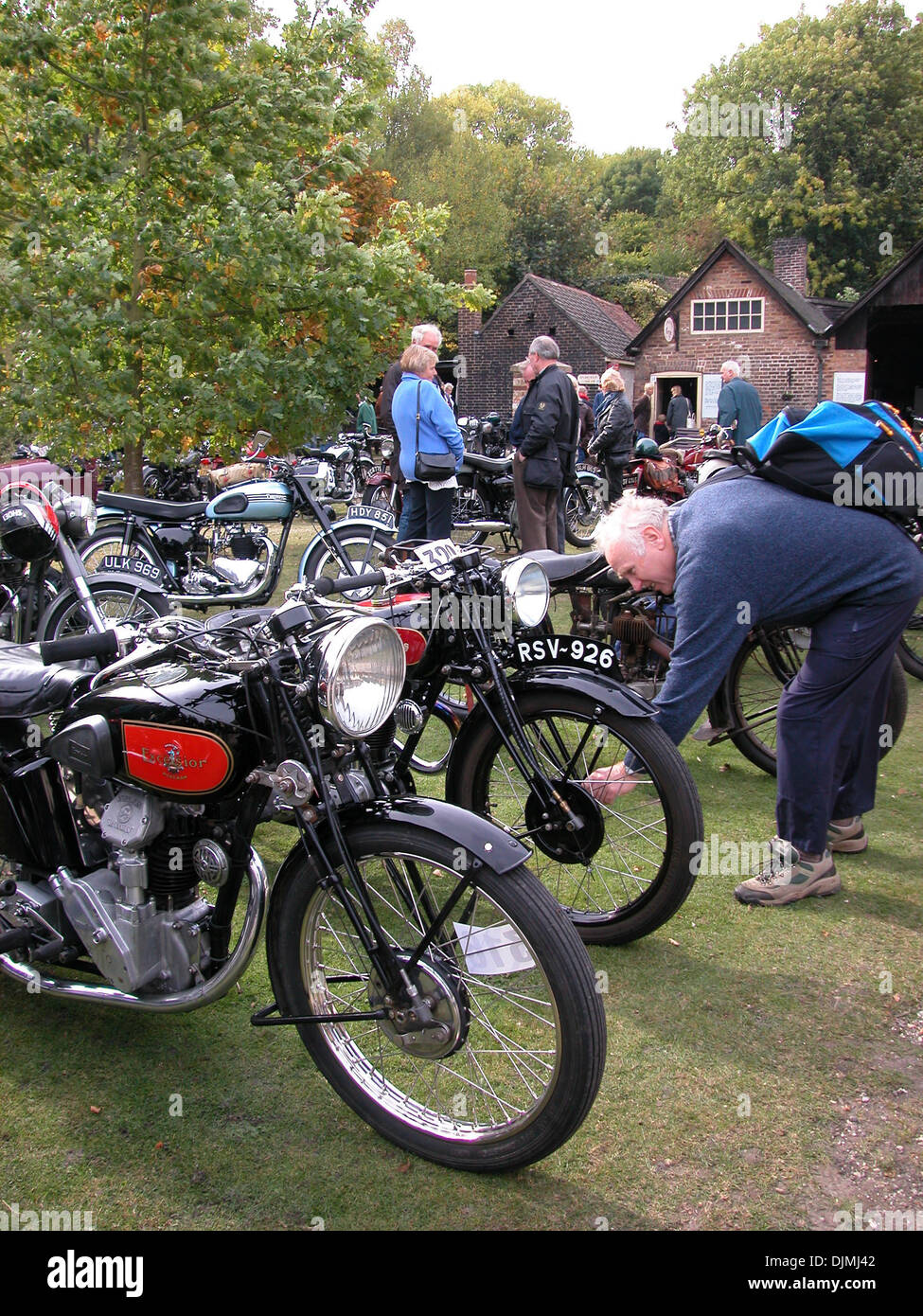 Vintage motorcycle enthusiasts - Stock Image