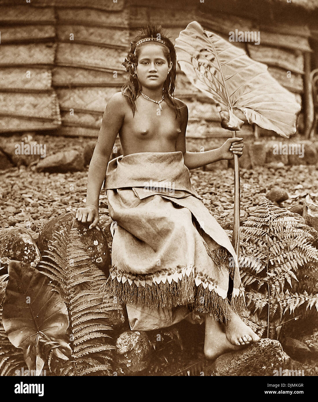 A Samoan Chief's Daughter Victorian period - Stock Image