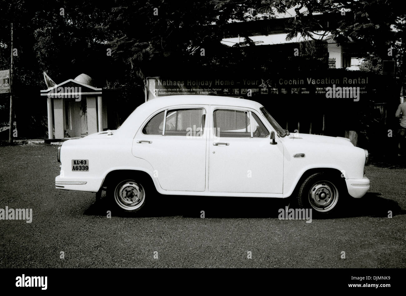 Hindustan Ambassador car in Fort Kochi Cochin in Kerala in South India in Asia. Cars Vehicle Road Street Life Lifestyle Transport Travel - Stock Image