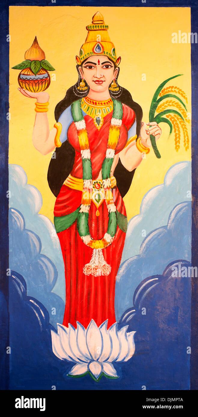 Indian Goddess of Earth. Bhumi Devi wall mural - Stock Image