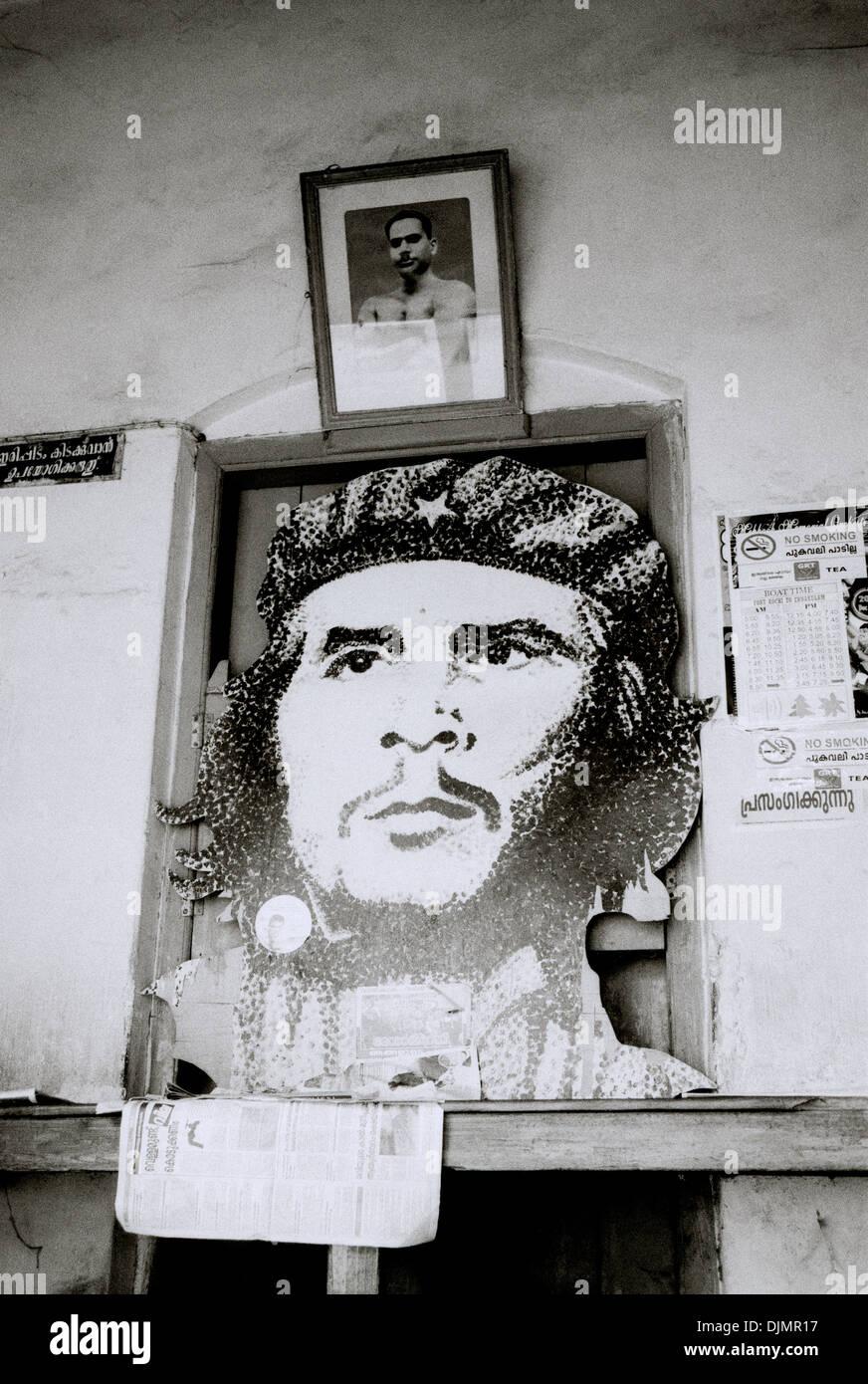 Che Guevara in the Communist reading room in Fort Kochi Cochin in Kerala in South India in Asia. Culture Portrait Revolution Politics Political Travel - Stock Image