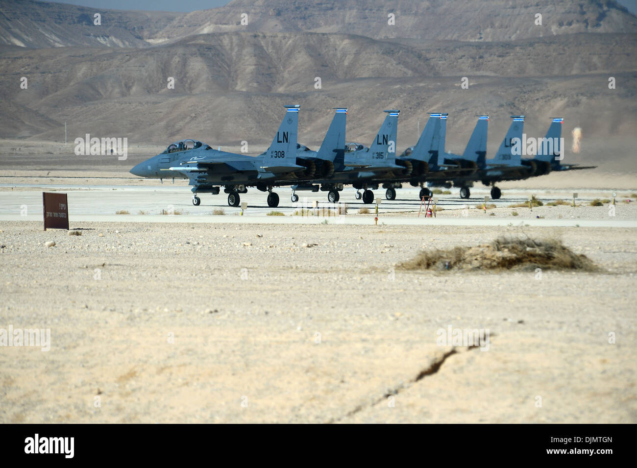 A group of F-15E Strike Eagles stage prior to take off during the Blue Flag exercise on Uvda Air Force Base, Israel Nov. 24, 201 - Stock Image