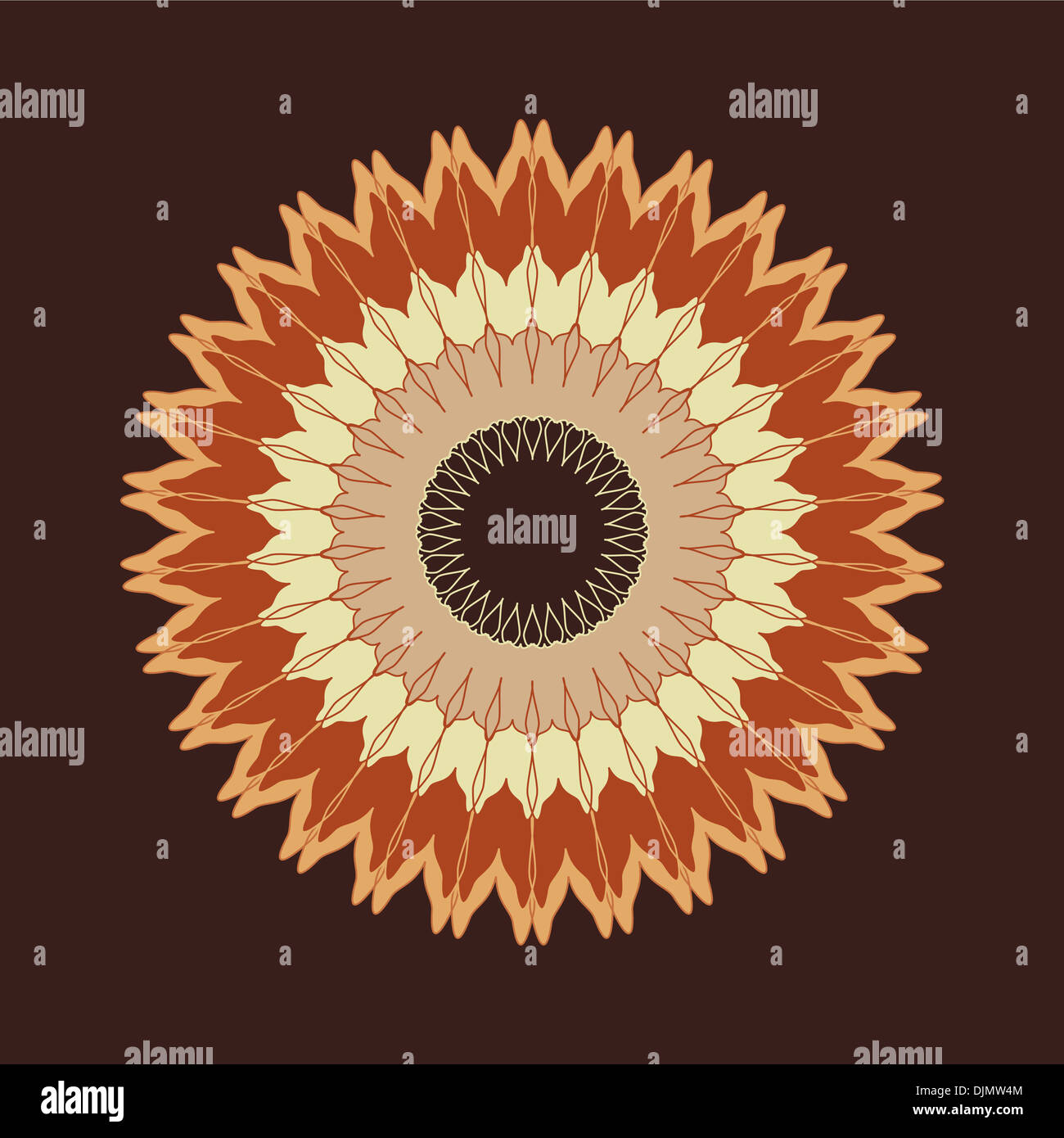 Artistic mandala pattern in brown and beige Stock Photo