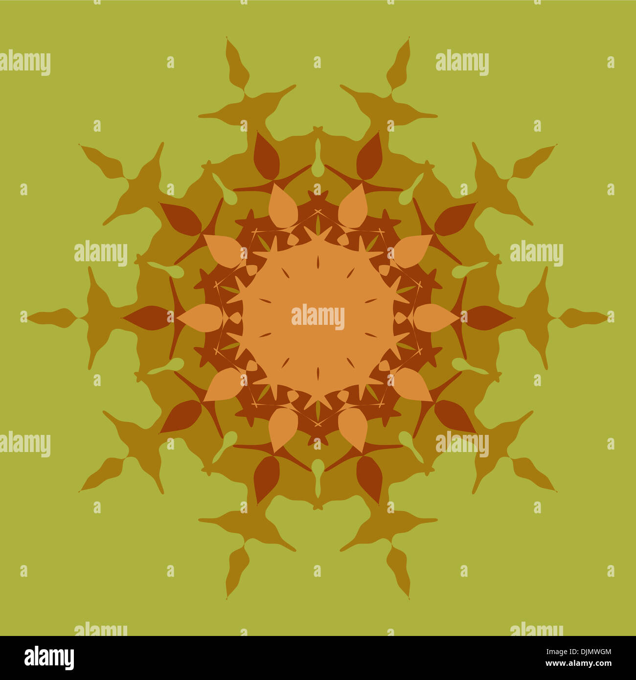 Artistic mandala pattern in brown and green Stock Photo