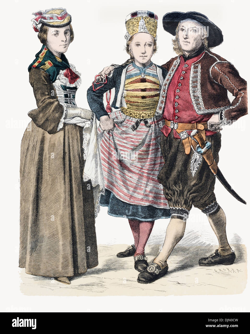 Late 18th century XVIII 1700s Swiss couple from Zurich and lady on left from Wallis - Stock Image