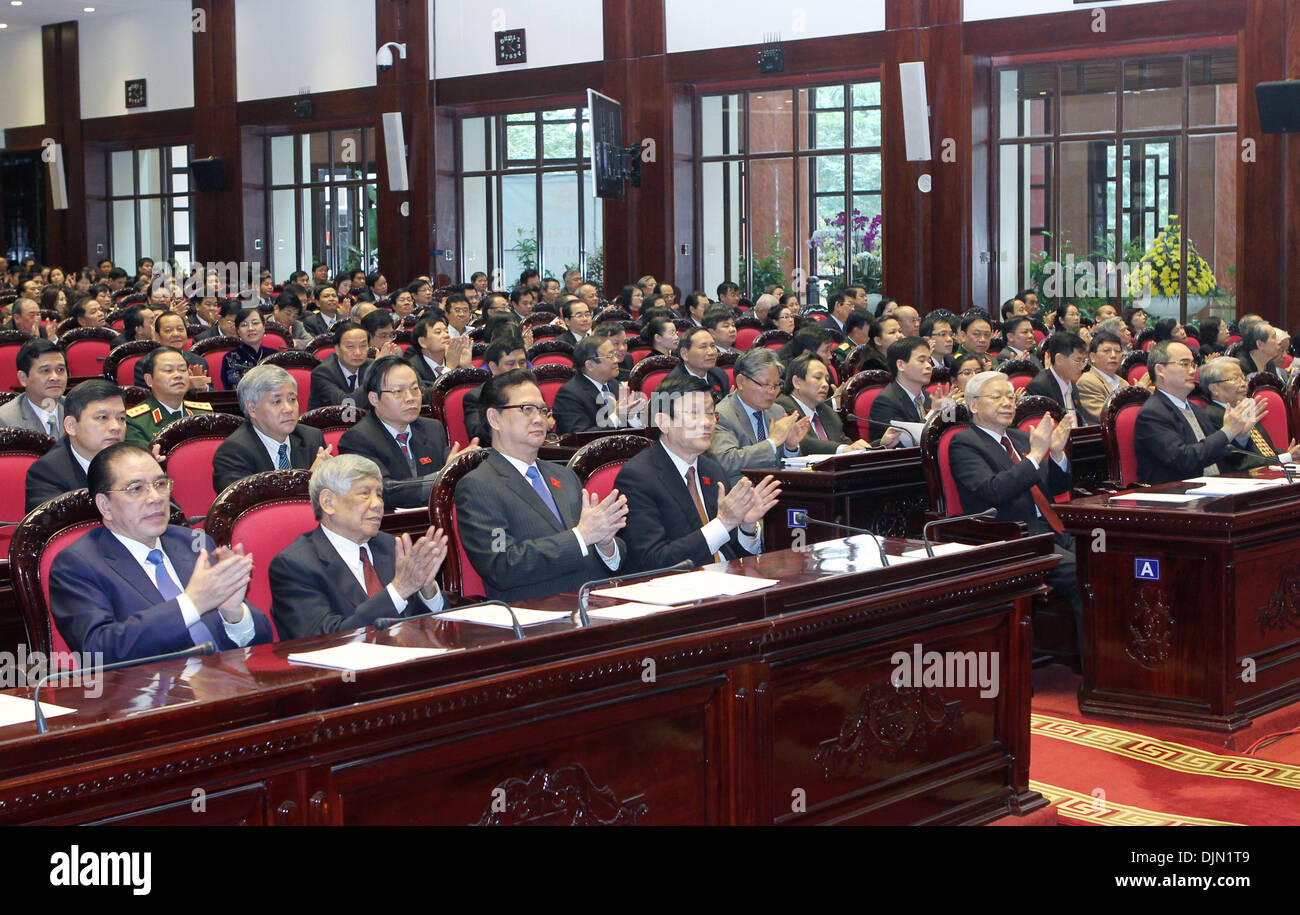 Hanoi, Vietnam. 29th Nov, 2013. closing ceremony of the sixth session of Vietnam's 13th National Assembly in Hanoi, capital of Vietnam. National Assembly deputies passed the amended 1992 Constitution and a resolution on executing the constitution as well as eight law bills. (Xinhua/VNA/Alamy Live News) - Stock Image