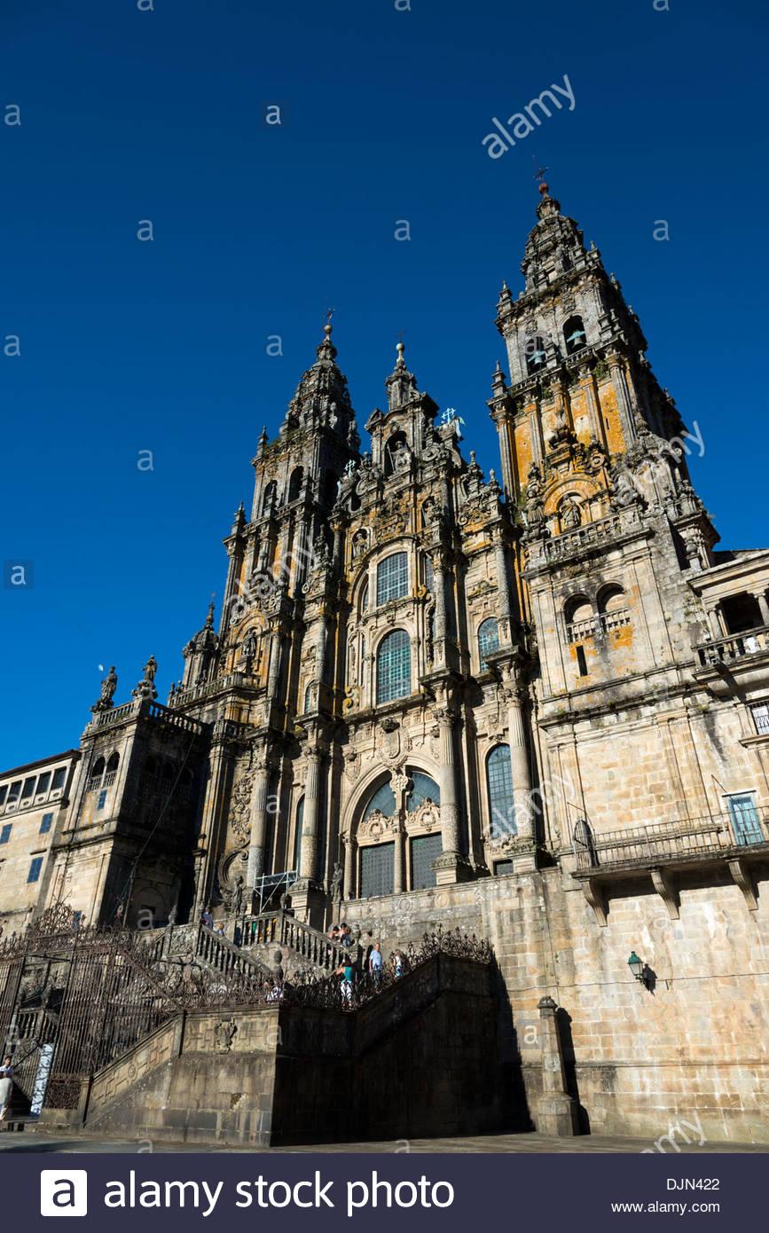 Cathedral at Santiago de Compostela, Galicia, Spain - Stock Image