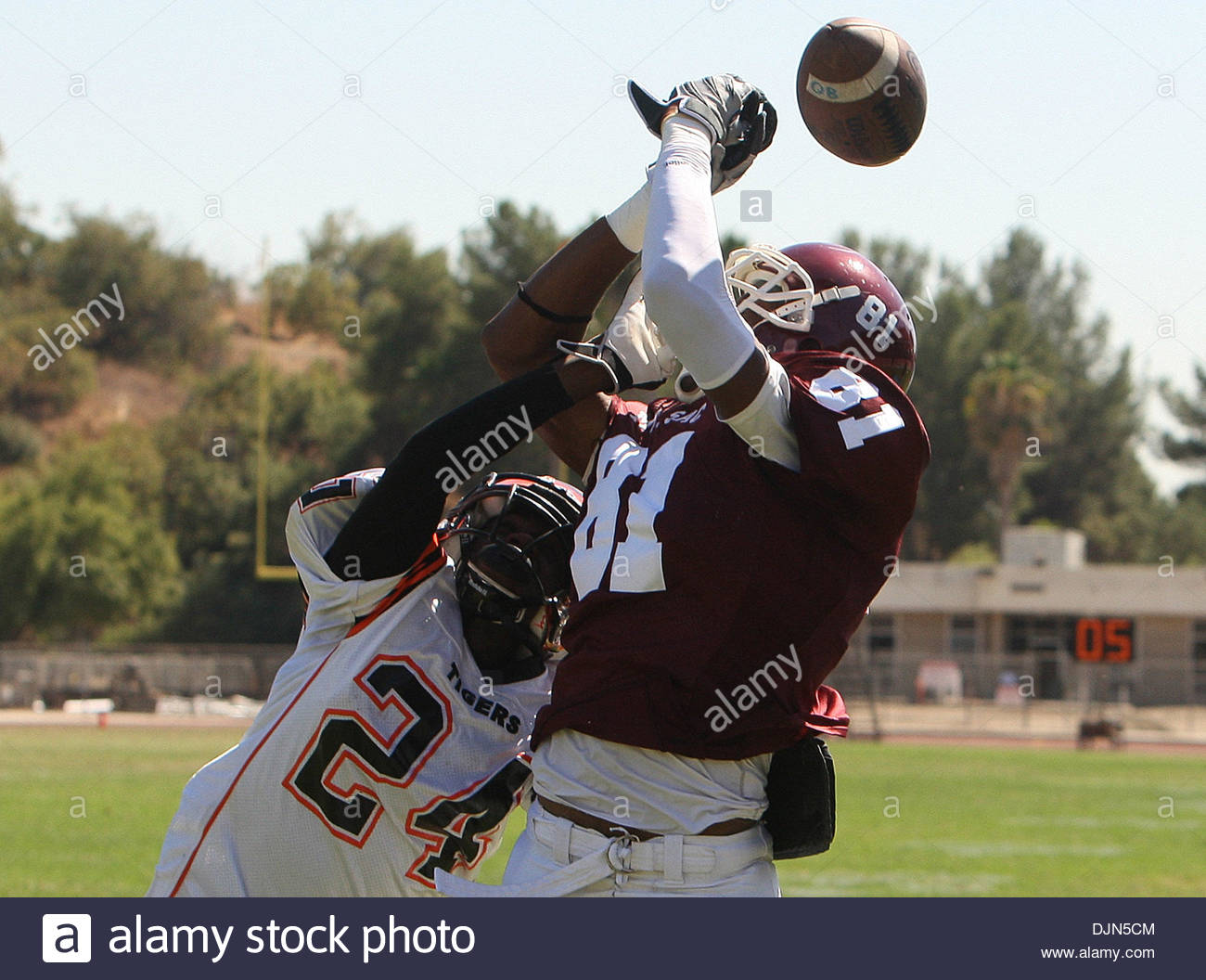 Mar. 20, 2008 - Walnut, California, U.S. - Mt. SAC's Alonzo Agwuenu (81) can't hold onto a pass over Riverside City College's Moses Terron  (24) in the second half as Mt. SAC beat Riverside 38-10 during a football game in Hilmer Lodge Stadum at Mt. San Antonio College , September 25, 2010 in Walnut. (SGVN/Staff Photo by Keith Birmingham/SPORTS) (Credit Image: © San Gabriel Valley T - Stock Image