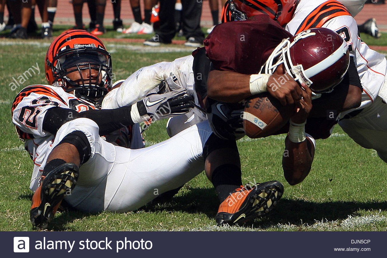 Mar. 20, 2008 - Walnut, California, U.S. - Mt Sac's Bryce McBride (3) dives for a touchdown against Riverside City College in the third quarter as Mt. SAC beat Riverside 38-10 during a football game in Hilmer Lodge Stadum at Mt. San Antonio College , September 25, 2010 in Walnut. (SGVN/Staff Photo by Keith Birmingham/SPORTS) (Credit Image: © San Gabriel Valley Tribune/ZUMApress.com - Stock Image