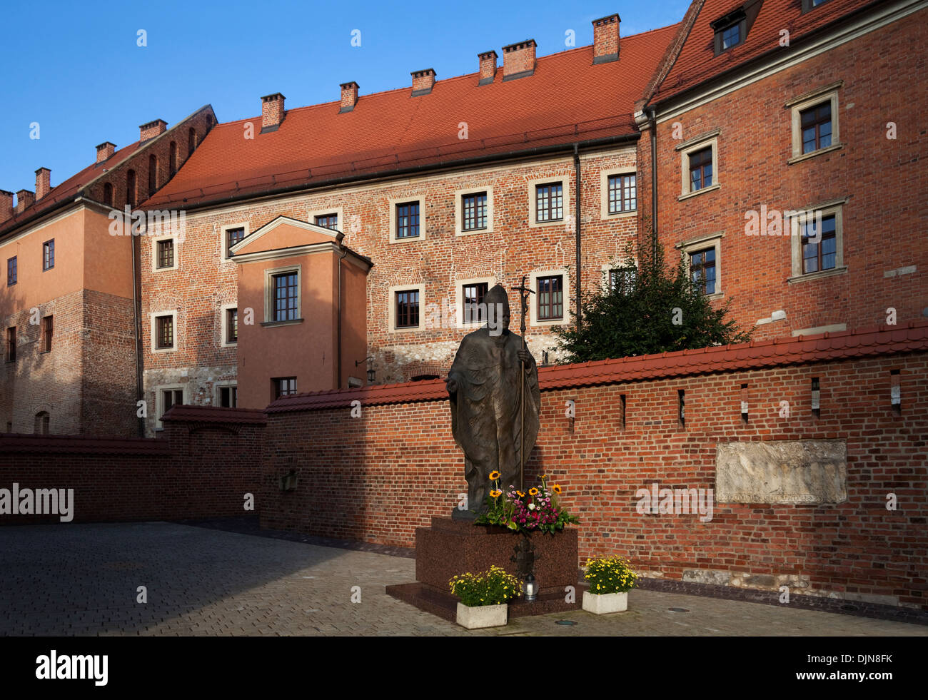 Sculpture of Pope John-Paul II (Father Karol Wojtyla), In the grounds of the Royal Castle on Wawel Hill, Krakow, Poland - Stock Image